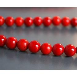 Raudono koralo apvalūs karoliukai 8 mm