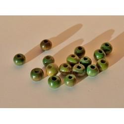 Žali mediniai karoliukai 6 mm